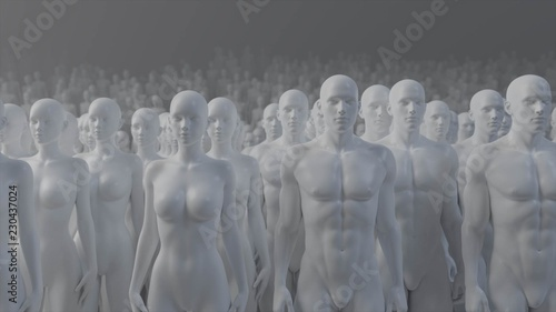 Mannequin crowd male female 3d render Canvas Print