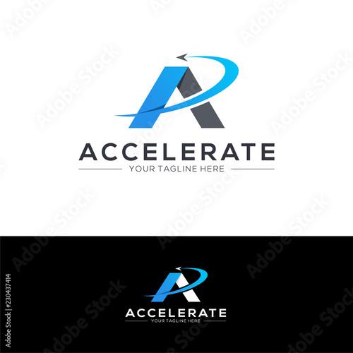 Accelerate logo design concept. Fast logo template Canvas Print