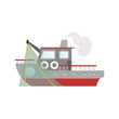 Fishing ship color vector icon. Flat design