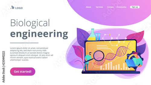 Fotografia  Biotechnology concept landing page.