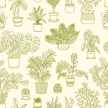 Monochrome Seamless Pattern With Plants Growing In Planters Drawn With Contour Lines On Light Background. Backdrop With Decorative Houseplants. Home Gardening. Vector Illustration For Fabric Print.