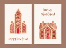 Bundle Of Decorative Christmas And New Year Greeting Card Or Postcard Templates With Sweet Tasty Gingerbread Houses And Holiday Wishes. Festive Colorful Vector Illustration In Flat Cartoon Style.