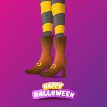 Vector Happy Halloween Party Poster With Women Witch Legs And Vintage Ribbon With Text Happy Halloween On Violet Background . Girls Legs With Stripped Stockings And Shoes.