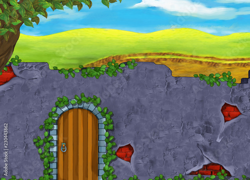 Fotografia  cartoon scene with some wall and wooden door entrance and nature landscape behin