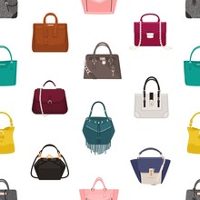 Trendy Seamless Pattern With Stylish Women's Bags Or Handbags Of Different Models On White Background. Backdrop With Fashionable Leather Accessories. Vector Illustration For Textile Print, Wallpaper.