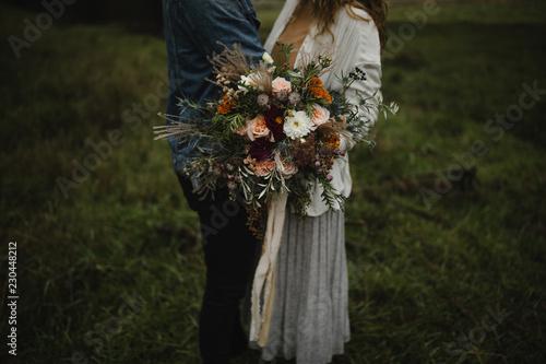 Fototapeta harvest bouquet of fall flowers