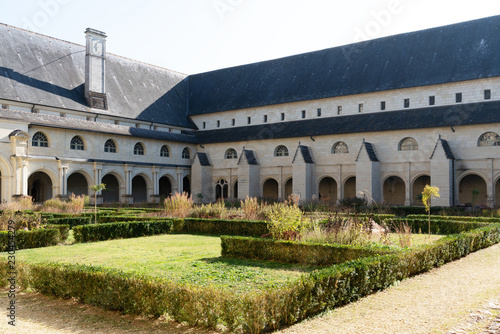 Inside the Abbey of Fontevraud, the cloister forms the center of the Grand-Moûti Canvas Print