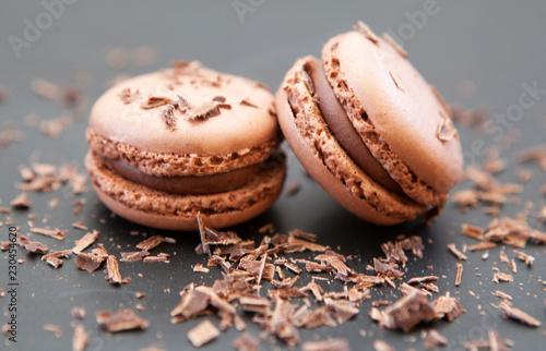 Foto auf Leinwand Macarons duo de macaron biscuit a la meringue