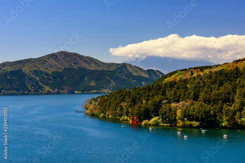 Poster Asia land Top view of Hakone torii gate at lake Ashi