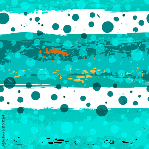 seamless abstract pattern background, with stripes, polka dots, strokes and splashes