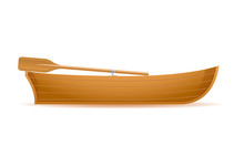 Wooden Boat Side View Vector Illustration