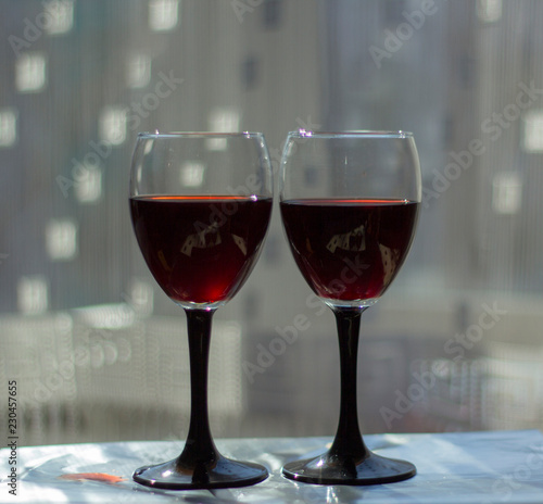 Spoed Foto op Canvas Bar Wine glasses