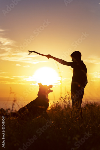 Foto op Aluminium Jacht silhouette of a young man walking with a dog on the field at sunset, boy playing wooden stick with his pet on nature