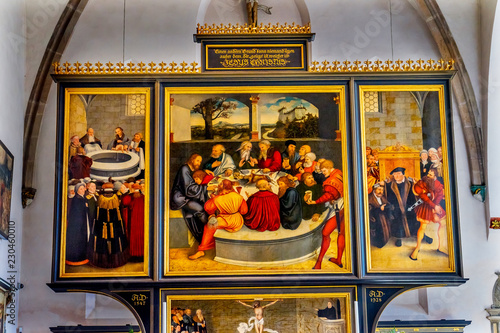Photo Last Supper Altarpiece Mary's City Church Wittenberg Germany