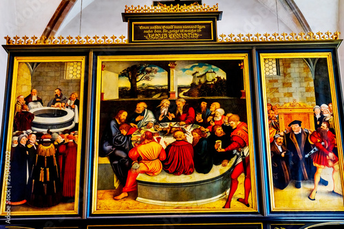 Fotografie, Obraz  Last Supper Altarpiece Mary's City Church Lutherstadt Wittenberg Germany