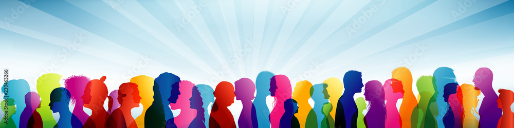 Crowd. Group of people. Team. Communication between people. Colored shilouette profiles