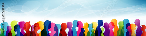 Fototapety, obrazy: Crowd. Group of people. Communication between people. Team. Colored shilouette profiles