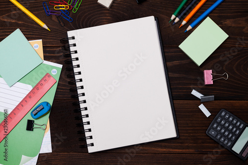 Empty Spiral Notebook With White Pages And Multicolored Stationery