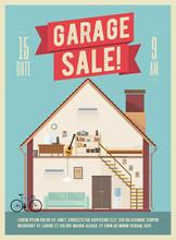 Garage Sale Banner Flyer Poster Design. Vector Illustration.
