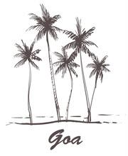 Hand Drawn Palm Beach,Goa Sketch Vector Illustration.