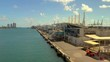 Drone aerial Port Miami closeup docks
