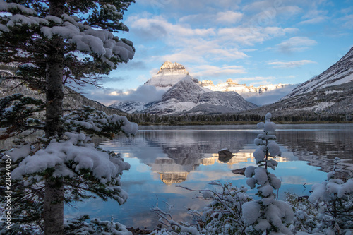 Reflection of Mt Henkel in Swiftwater Lake after a snow storm Canvas Print