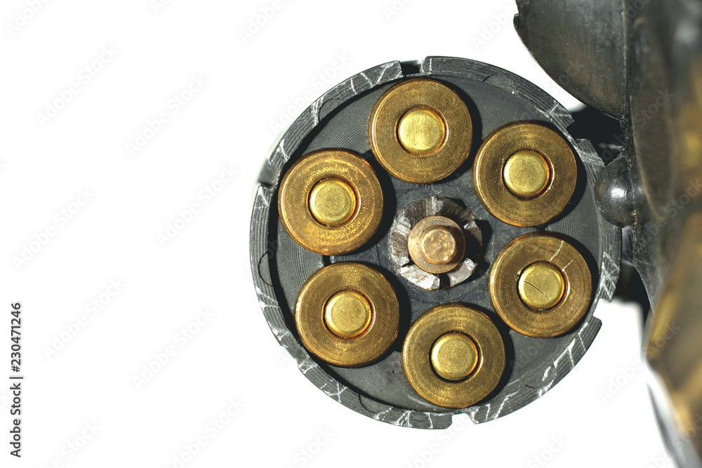 Fototapeta Drum revolver with cartridges isolated on white background close up
