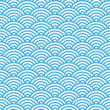Traditional Japanese Wave Seamless Pattern. Vector