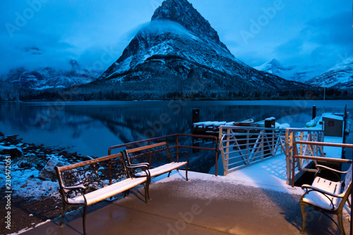 Swiftcurrent Lake, after a snow storm, predawn, Mt Grinnell, Glacier National Pa Wallpaper Mural
