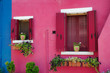 Leinwanddruck Bild - View of house windows with shutter in the Burano Venice Italy