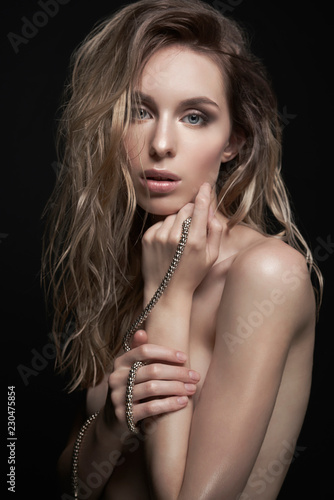 Keuken foto achterwand womenART Young beautiful blonde with silver necklace
