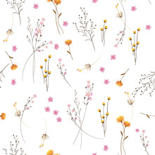 Summmer Trendy  White Blowing  Floral Pattern In The Many Kind Of Flowers. Wild Botanical  Motifs Scattered Random. Seamless Vector Texture.