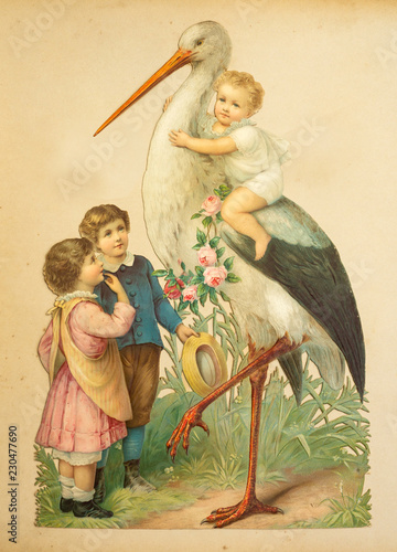 Fotografie, Obraz  vintage nostalgie retro Kinder mit Storch, Klapperstorch um 1880- 1900