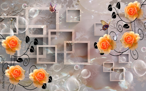 Beautiful 3d rectangular floral abstraction, 3d rendering - 230478082