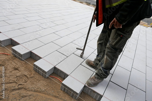 Fotografie, Obraz  New paving stones on the sidewalk, close-up