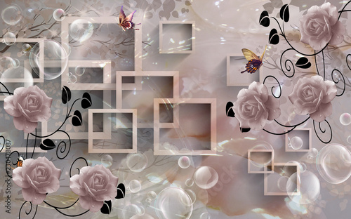 Beautiful 3d rectangular floral abstraction, 3d rendering.