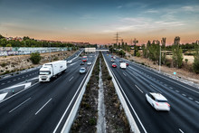 The M-40 Orbital Motorway Circles The Central Districts Of Madrid, The Capital City Of Spain.