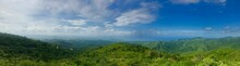 Mirador Lookout Point Panorama Close To Trinidad (Sancti Spiritus) In The Cuban Countryside (Caribbean Island) With A Lush Green Vegetation And A Blue Summer Sky With White Clouds