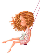 Cute Cartoon Girl On Swing Wit...