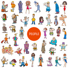 Cartoon People Characters Large Set