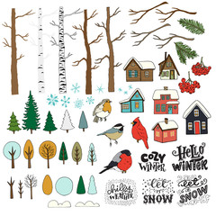 Set of hand drawn winter forest clipart