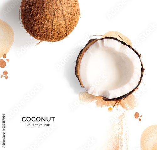 Creative layout made of coconut on the watercolor background. Flat lay. Food concept. - 230487084