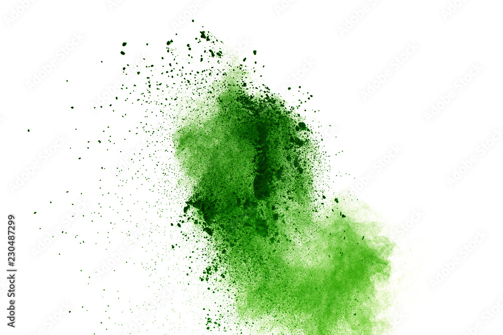 Fototapety, obrazy: abstract powder splatted background,Freeze motion of green powder exploding/throwing green dust