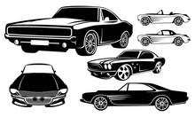 Set Of Muscle Car Logo Design Template