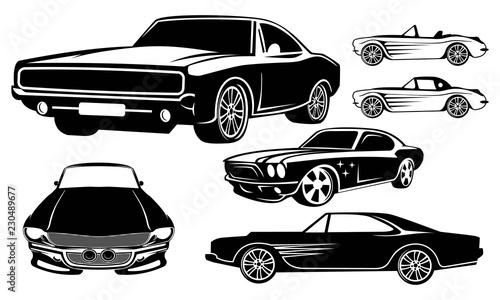 zestaw szablonu projektu logo samochodu mięśni