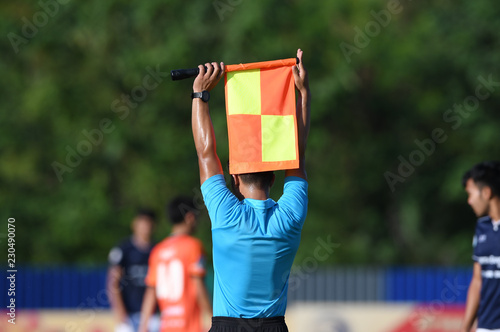 Assistant referee hold flag , substitution signal. Canvas Print