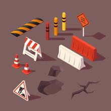 Isometric Set Of Road Repair F...