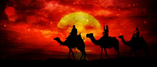 Three Kings - Wandering In The Desert In The Light Of The Setting Sun And Flashes In The Sky