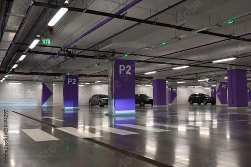 Obraz na plátne Underground parking of cars.