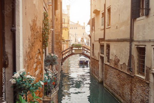 Staande foto Kanaal Venice, beautiful romantic italian city on sea with great canal and gondolas. View of venetian narrow canal. Venice is a popular tourist destination of Europe.